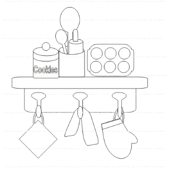 Kitchen Shelf Digi Stamp