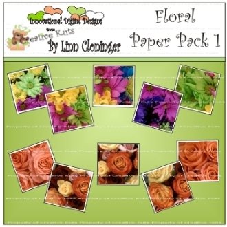 Digital Floral Paper Pack 1