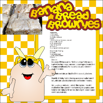 Banana Bread Brownies Scrapbook Recipe Page