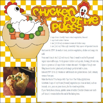 Chicken Pot Pie Puff Scrapbook Recipe Page