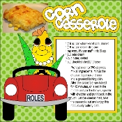 Corn Casserole Scrapbook Recipe Page